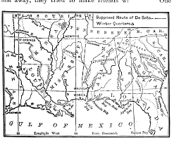 Map Of Southeastern States by Route Of De Soto 1539