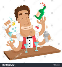 cocktail party juggling barman mix various stock vector 222421357