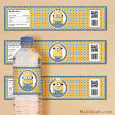 free printable despicable me minions water bottle labels minions