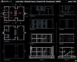 Autocad Architecture Floor Plan Esherick House Autocad Dwg Project Pinterest Esherick House