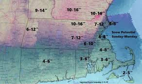 Boston Snow Total Map by Forecast Large Ocean Storm Brings Wind Snow Sunday Into Monday