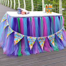 tulle table skirts party supplies cool toys gifts home purple pink blue and green tulle tutu table skirt for party dessert table edges decor