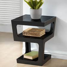 acme furniture tanquin black glass and gold end table 84492 the