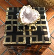 geode box black and gold geometric design glass box white geode box black