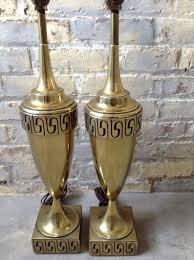 hollywood regency gold lamps greek key stiffel lamps mid