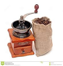 Old Fashioned Coffee Grinder Coffee Beans Sack With Wooden Coffee Grinder Royalty Free Stock