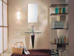 Glass Shelving Bathroom by Simple Tiny Bathroom With Glass Sinks Also Glass Vertical Shelving