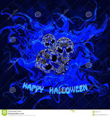 abstract blue background with skulls and the words happy halloween