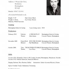 Special Skills Theatre Resume Cover Letter Acting Resume Example Example Acting Resume Acting