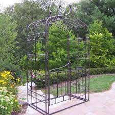 Oakland Living Mississippi Cast Aluminum Oakland Living 8 5 Ft Iron Gothic Arbor With Gate Hayneedle