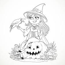 beautiful witch sitting on a pumpkin and talking to a black raven