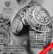 maori shoulder maori polynesian chief warrior tattoo stencil template ebay