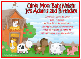 farm barn animals birthday invitations crafty designs