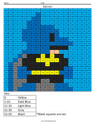batman basic multiplication coloring squared
