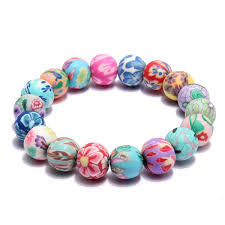 flower beads bracelet images Colorful flower beads polymer clay stretch bracelet women jewelry jpg
