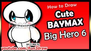 cute baymax big hero 6 how to draw disney cartoon characters