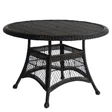 resin patio table with umbrella hole black resin wicker 44 5 inch outdoor dining patio table with