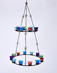 Multi Coloured Chandeliers Tea Light Chandelier Tier Multi Coloured Glass By Bell