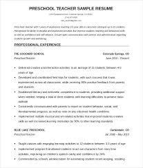 Sample Teacher Resume Indian Schools Sample Of Resume Of Teacher Preschool Teacher Resume Template Free