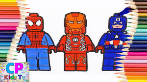 lego spiderman iron man captain america coloring pages how to