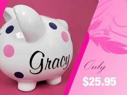 monogrammed piggy banks personalized piggy bank polka dot piggy bank