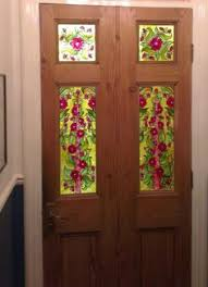 glass panels for front doors one of a pair of painted stained glass style panels for a front