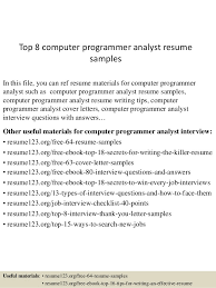 Programming Resume Examples by Top 8 Computer Programmer Analyst Resume Samples 1 638 Jpg Cb U003d1432732266
