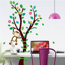 cartoon monkey forest trees vines wall stickers