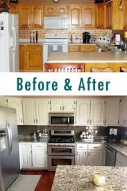 Painted White Kitchen Cabinets Before And After How To Paint Oak Cabinets And Hide The Grain White Paints