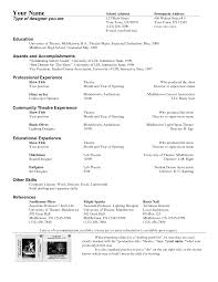 Actor Resume Special Skills Technical Theatre Resume Templates Template Examples Acting