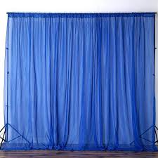 Blue Sheer Curtain 10ft Retardant Royal Blue Sheer Voil Curtain Panel Backdrop