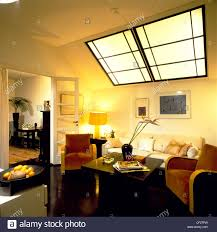 livingroom deco living room cream walls and ceiling large art deco style skylight