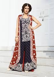 punjabi palazo dresses with jacket buy online blue punjabi