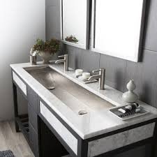 Trough  Brushed Nickel Double Basin Rectangular Bathroom Sink - Basin bathroom sinks