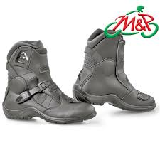 short black motorcycle boots pair falco volt leather waterproof motorcycle short boots black