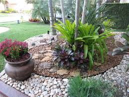 design ideas palm trees with gravel and potted plus plants also