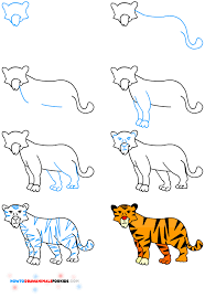 how to draw a tiger for kids how to draw animals for kids