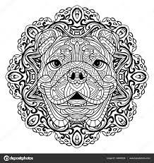 book adults head dog circular pattern zenart