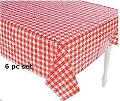 Make A Picnic Table Cover by Amazon Com 6 Plastic Red And White Checkered Tablecloths 6 Pc