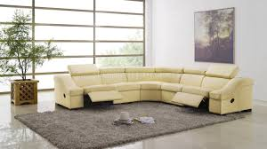 Pit Group Sofa 8021 Reclining Sectional Sofa In Light Beige Full Leather By Esf