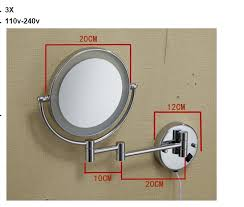 bathroom magnifying mirror with light bathroom chrome wall mounted 8 inch brass 3x 1x magnifying