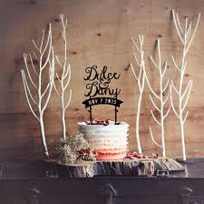 customised wedding cake topper personalised names forest rustic