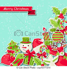 vector clipart of merry christmas background for invitation card