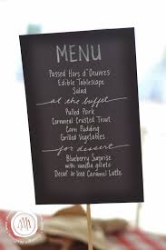 chalkboard style menu made with black card stock and chalk markers