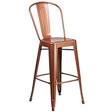 Outdoor Bar Stools With Backs Amazon Com Flash Furniture 30 U0027 U0027 High Distressed Copper Metal