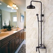 modern retro black oil rubbed bronze bathroom exposed shower