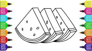 coloring book watermelon sweet juicy fruit how to draw
