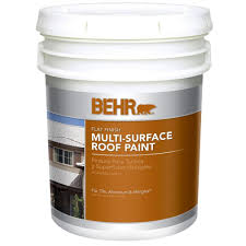 behr 5 gal white flat acrylic latex roof paint 06505 the home depot