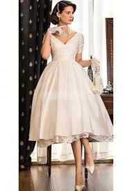 vintage champagne short sleeves knee length wedding dress pinup