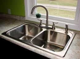 Kitchen  Beige Tile Pattern Ceramic Kitchen Backsplash With Cream - Double bowl kitchen sink undermount
